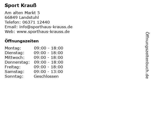 Sport Krauß in Landstuhl: Adresse und Öffnungszeiten