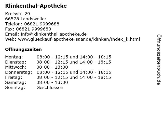 Klinkenthal-Apotheke in Landsweiler: Adresse und Öffnungszeiten