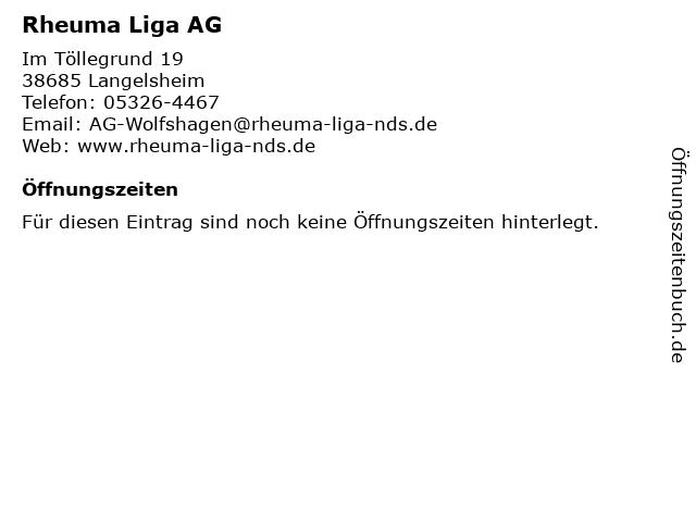 Rheuma Liga AG in Langelsheim: Adresse und Öffnungszeiten