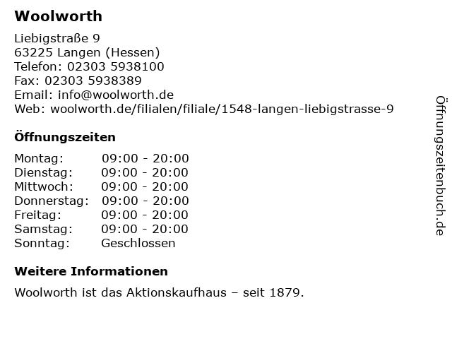 Woolworth in Langen: Adresse und Öffnungszeiten