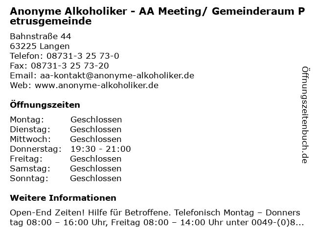 Anonyme Alkoholiker - AA Meeting/ Gemeinderaum Petrusgemeinde in Langen: Adresse und Öffnungszeiten