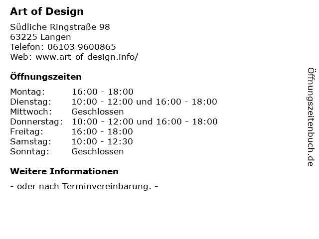 Art of Design in Langen: Adresse und Öffnungszeiten