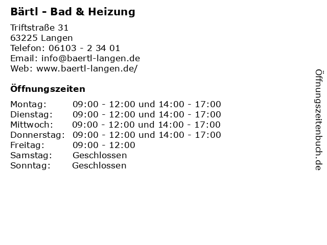 Bärtl - Bad & Heizung in Langen: Adresse und Öffnungszeiten