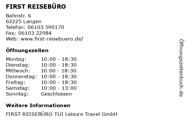 FIRST REISEBÜRO in Langen: Adresse und Öffnungszeiten