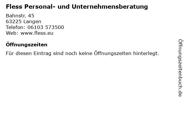 Fless Personal- und Unternehmensberatung in Langen: Adresse und Öffnungszeiten