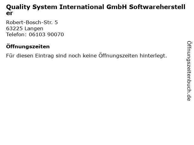 Quality System International GmbH Softwarehersteller in Langen: Adresse und Öffnungszeiten