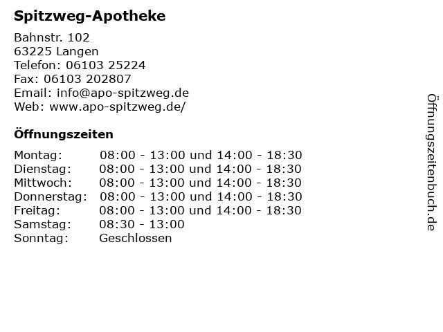 Spitzweg-Apotheke in Langen: Adresse und Öffnungszeiten