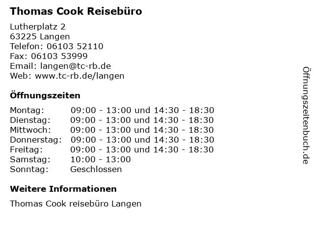 Thomas Cook Reisebüro in Langen: Adresse und Öffnungszeiten