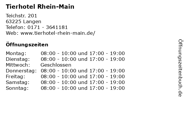 Tierhotel Rhein-Main in Langen: Adresse und Öffnungszeiten