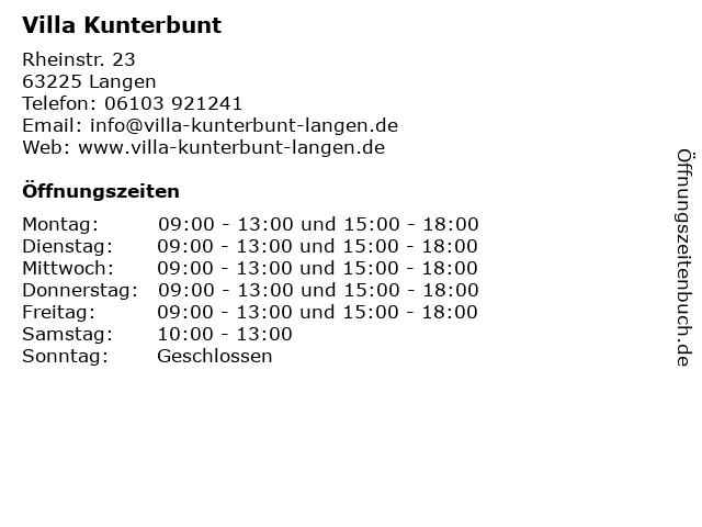 Villa Kunterbunt in Langen: Adresse und Öffnungszeiten
