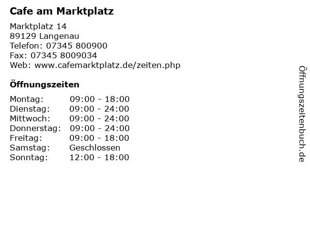Cafe am Marktplatz in Langenau: Adresse und Öffnungszeiten