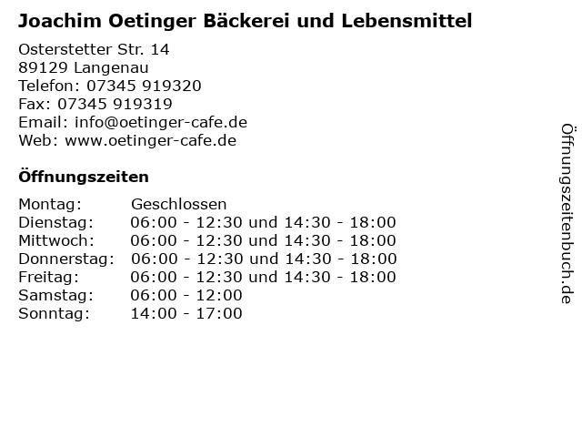 Joachim Oetinger Bäckerei und Lebensmittel in Langenau: Adresse und Öffnungszeiten