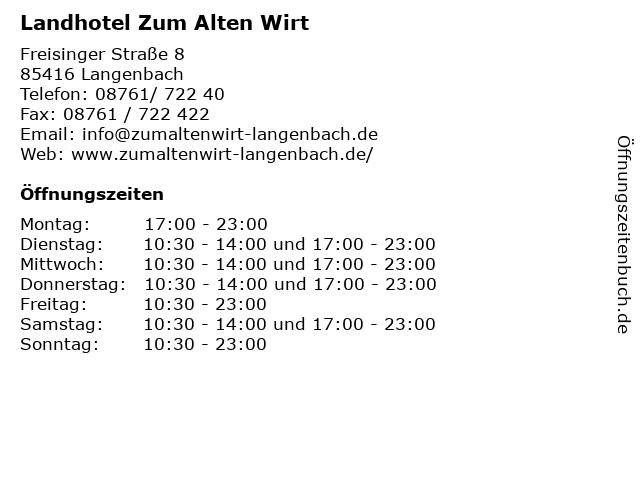 Landhotel Zum Alten Wirt in Langenbach: Adresse und Öffnungszeiten