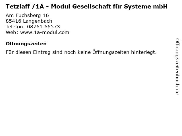 Tetzlaff /1A - Modul Gesellschaft für Systeme mbH in Langenbach: Adresse und Öffnungszeiten