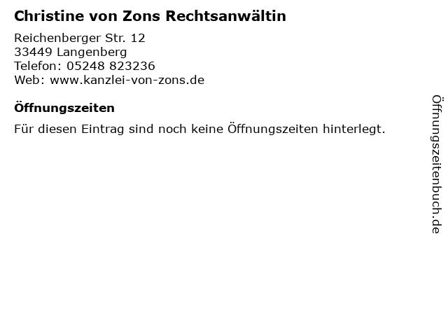 Christine von Zons Rechtsanwältin in Langenberg: Adresse und Öffnungszeiten