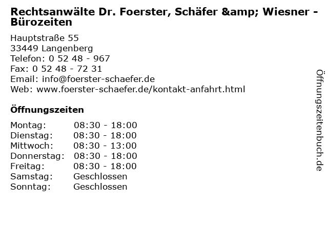 Rechtsanwälte Dr. Foerster, Schäfer & Wiesner - Bürozeiten in Langenberg: Adresse und Öffnungszeiten
