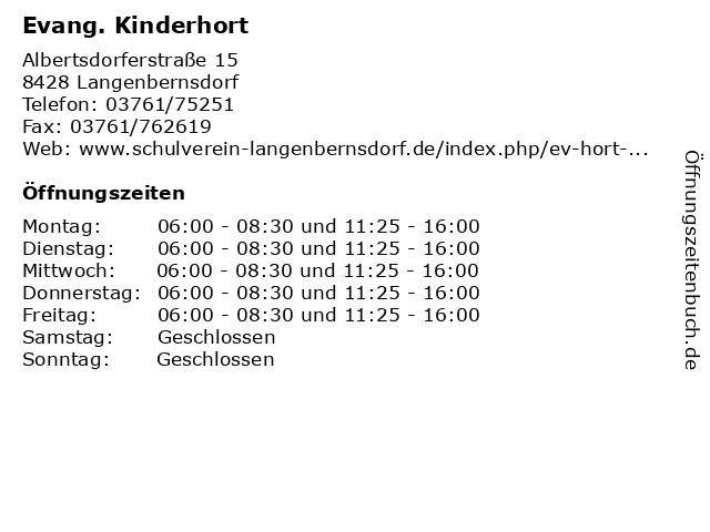 Evang. Kinderhort in Langenbernsdorf: Adresse und Öffnungszeiten