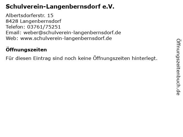 Schulverein-Langenbernsdorf e.V. in Langenbernsdorf: Adresse und Öffnungszeiten