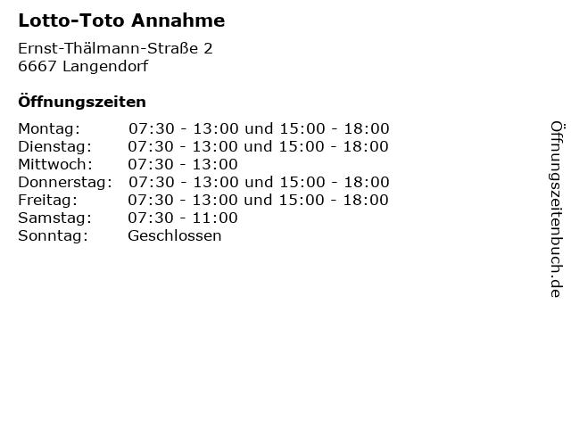 Lotto-Toto Annahme in Langendorf: Adresse und Öffnungszeiten
