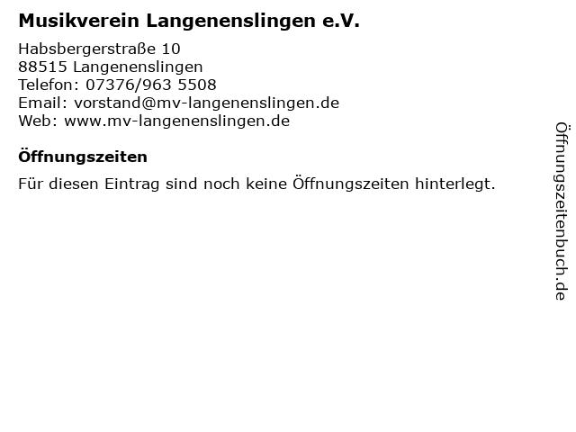 Musikverein Langenenslingen e.V. in Langenenslingen: Adresse und Öffnungszeiten