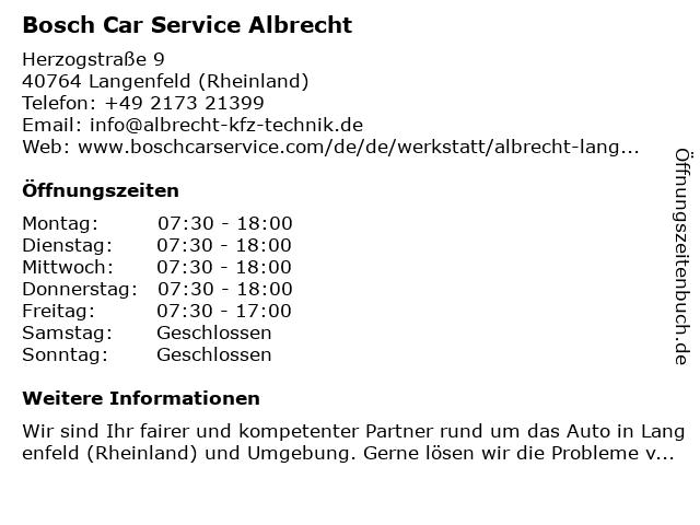 Bosch Car Service Albrecht in Langenfeld (Rheinland): Adresse und Öffnungszeiten