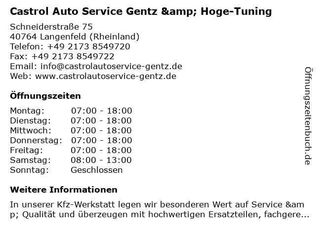Castrol Auto Service Gentz & Hoge-Tuning in Langenfeld (Rheinland): Adresse und Öffnungszeiten