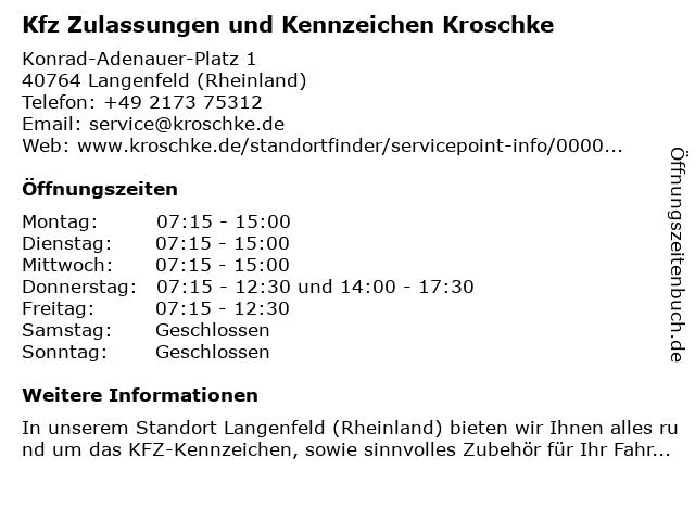 Kfz Zulassungen und Kennzeichen Kroschke in Langenfeld (Rheinland): Adresse und Öffnungszeiten