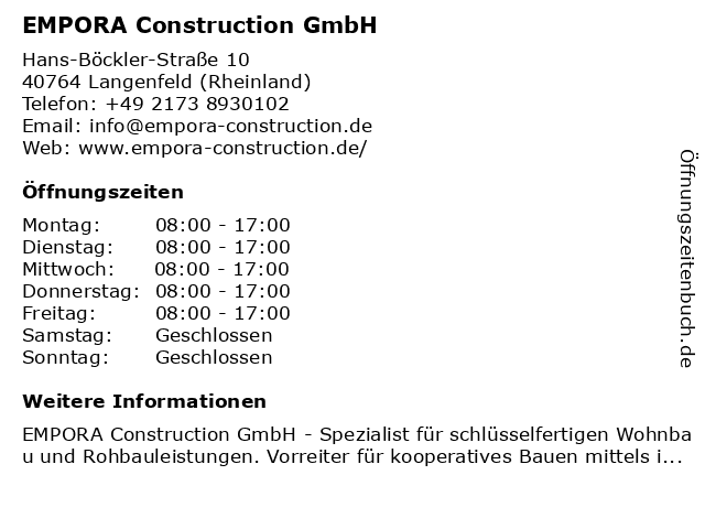 EMPORA Construction GmbH in Langenfeld (Rheinland): Adresse und Öffnungszeiten