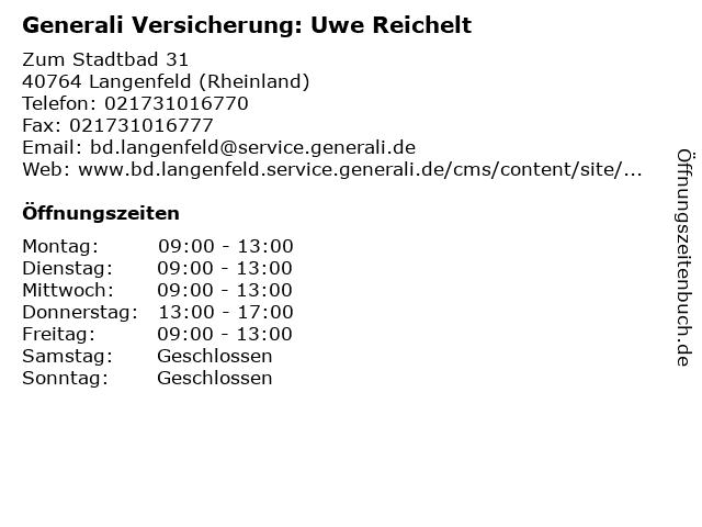 Generali Versicherung: Uwe Reichelt in Langenfeld (Rheinland): Adresse und Öffnungszeiten
