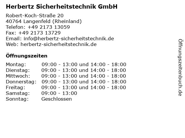 Herbertz Sicherheitstechnik GmbH in Langenfeld (Rheinland): Adresse und Öffnungszeiten