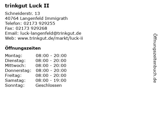 trinkgut Luck II in Langenfeld Immigrath: Adresse und Öffnungszeiten