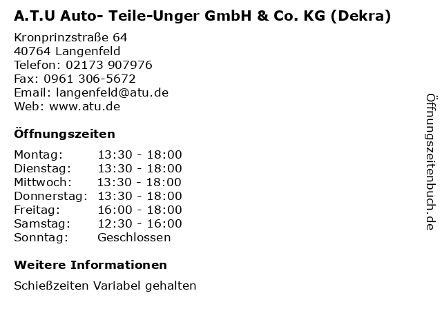 A.T.U Auto- Teile-Unger GmbH & Co. KG (Dekra) in Langenfeld: Adresse und Öffnungszeiten