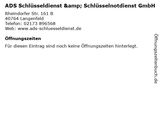 ADS Schlüsseldienst & Schlüsselnotdienst GmbH in Langenfeld: Adresse und Öffnungszeiten