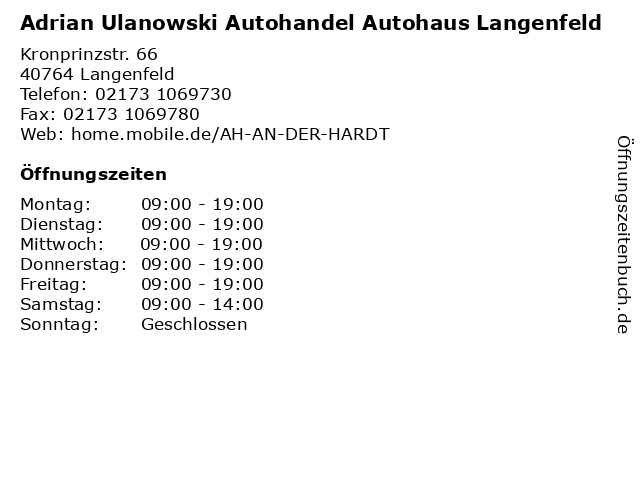 Adrian Ulanowski Autohandel Autohaus Langenfeld in Langenfeld: Adresse und Öffnungszeiten