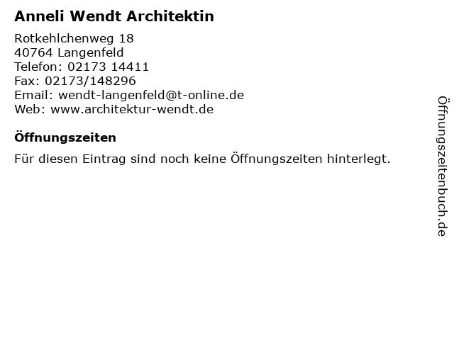 Anneli Wendt Architektin in Langenfeld: Adresse und Öffnungszeiten