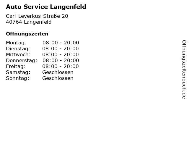 Auto Service Langenfeld in Langenfeld: Adresse und Öffnungszeiten