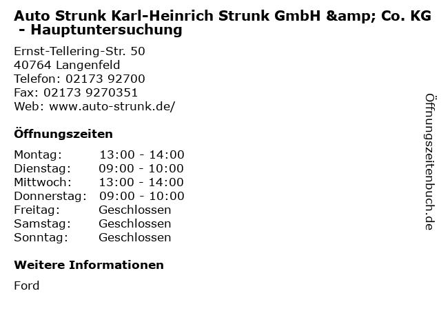 Auto Strunk Karl-Heinrich Strunk GmbH & Co. KG - Hauptuntersuchung in Langenfeld: Adresse und Öffnungszeiten