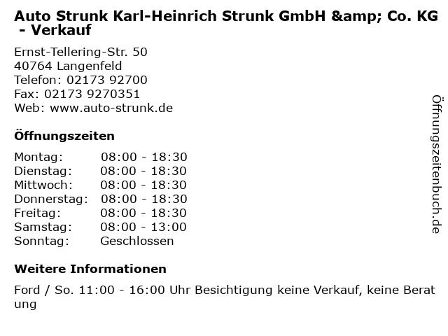 Auto Strunk Karl-Heinrich Strunk GmbH & Co. KG - Verkauf in Langenfeld: Adresse und Öffnungszeiten