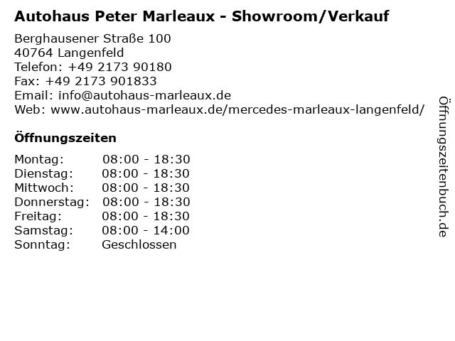 Autohaus Peter Marleaux - Showroom/Verkauf in Langenfeld: Adresse und Öffnungszeiten