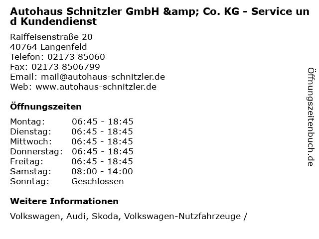 Autohaus Schnitzler GmbH & Co. KG - Service und Kundendienst in Langenfeld: Adresse und Öffnungszeiten