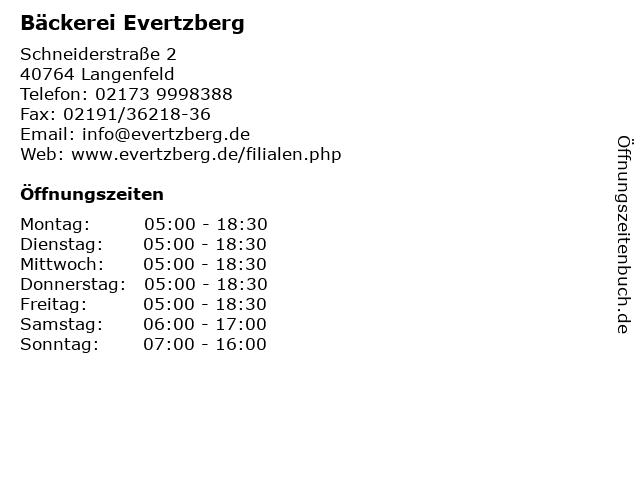 Bäckerei Evertzberg in Langenfeld: Adresse und Öffnungszeiten