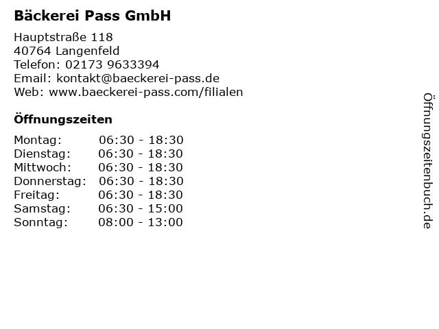 Bäckerei Pass GmbH in Langenfeld: Adresse und Öffnungszeiten