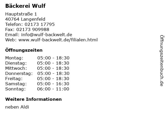 Bäckerei Wulf in Langenfeld: Adresse und Öffnungszeiten