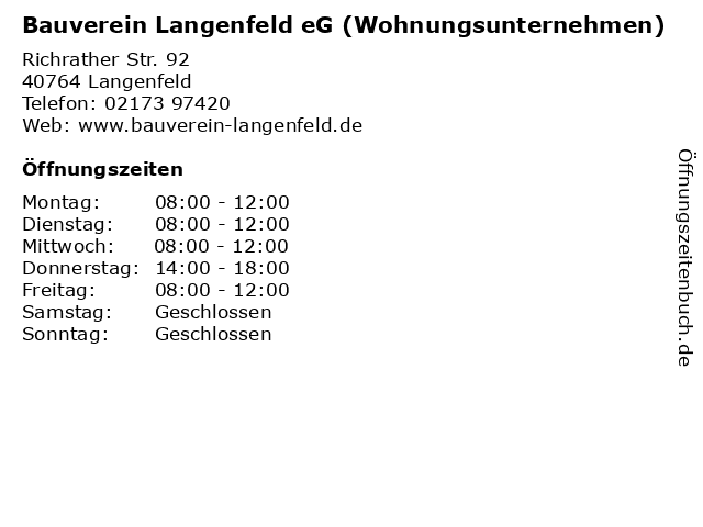 Bauverein Langenfeld eG (Wohnungsunternehmen) in Langenfeld: Adresse und Öffnungszeiten