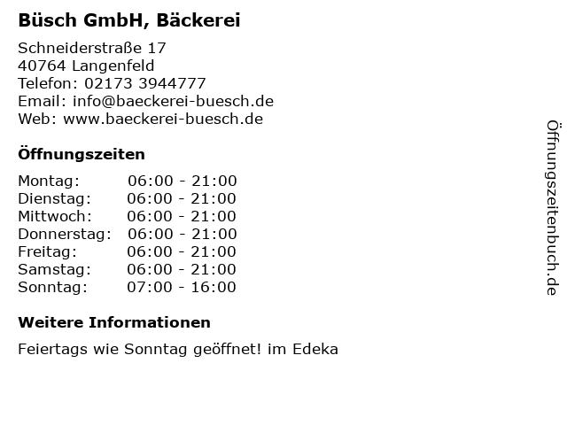 Büsch GmbH in Langenfeld: Adresse und Öffnungszeiten