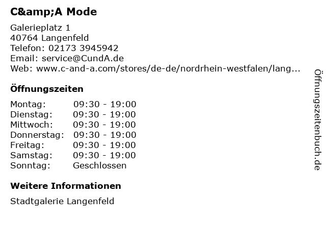 C&A Mode GmbH & Co. KG (Small Family) in Langenfeld: Adresse und Öffnungszeiten