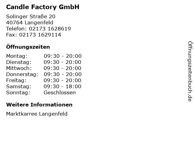 Candle Factory GmbH in Langenfeld: Adresse und Öffnungszeiten