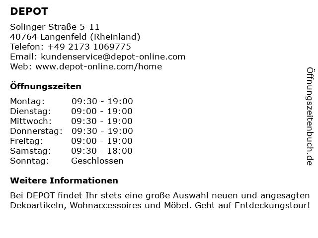 DEPOT in Langenfeld: Adresse und Öffnungszeiten