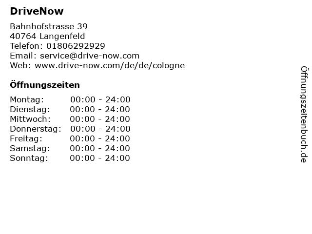 DriveNow in Langenfeld: Adresse und Öffnungszeiten