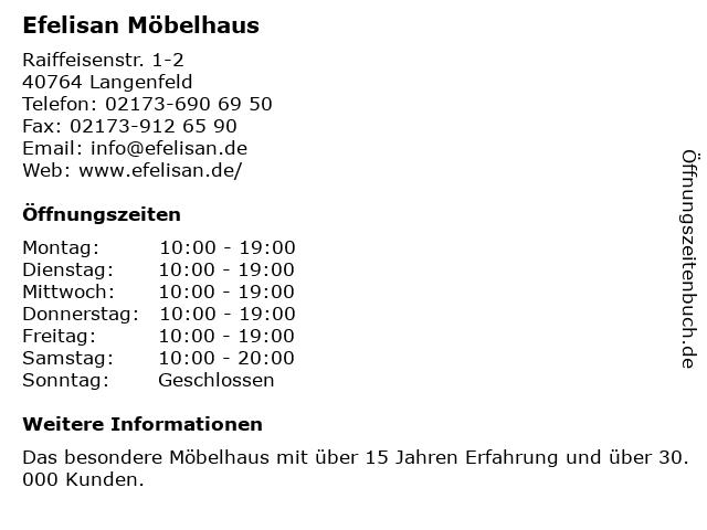 ᐅ öffnungszeiten Efelisan Möbelhaus Raiffeisenstr 1 2 In